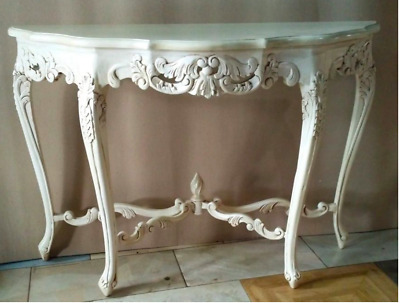 Mahogany French Chateau Versailles Louis Antique White Console Hall Table