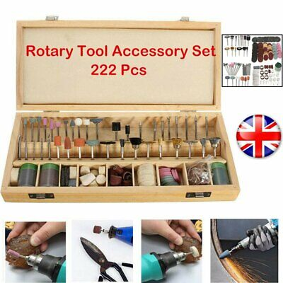 222pc Rotary Drill Bit Set Grinding Cutting Tool for Dremel w/ Wood Storage Case
