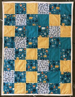 Handmade Baby Quilt/blanket- Made With Cotton, Green And Yellow Woodland Animals