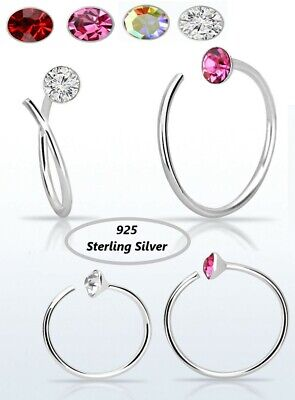 Nose Spiral Ring 925 Sterling Silver Hoop 0.6 mm thick Piercing