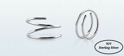 Double Spiral Nose Ring 925 Sterling silver Tragus Helix Ear Cartilage Hoop