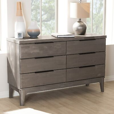 Rustic Platinum Grey 6-Drawer Dresser by Baxton Studio Grey 6-drawer