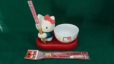 VINTAGE SANRIO Hello Kitty Toothbrush Chopsticks Bowl Trinket LOT NOS