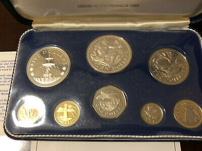 Barbados 1973 Proof Set in Case with COA - Silver $5 & $10 - Franklin Mint