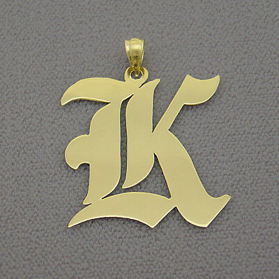Sterling Silver Old English Initial Pendant 1.25 Inches Charm SI51