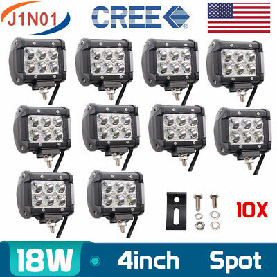 10X 4inch 18W Cree Led Work Light Bar Spot/Flood 4WD Driving Lamp Offroad 12v24V