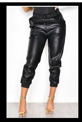 Cargo Wet Look PU PVC Shiny Paper Bag Faux Leather Look Trousers Pant Joggers