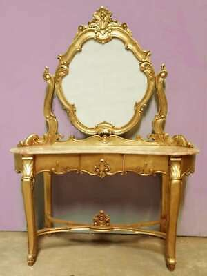 Solid Mahogany French Rococo Antique Louis Style Gilt Dressing Table Pink Marble