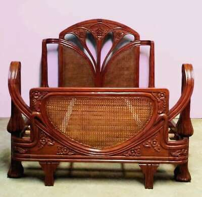 Solid Mahogany and Rattan 5' King Size Carved Art Nouveau Antique Style Bed