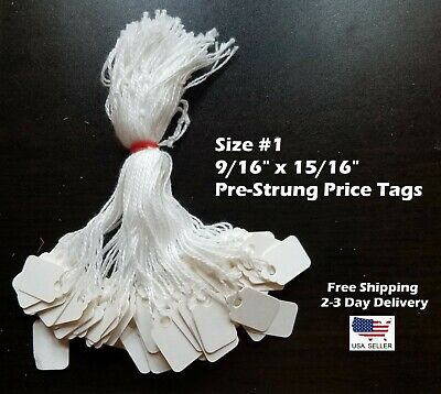 Size #1 Small Blank White Merchandise Price Tags w/ String Retail Jewelry Strung