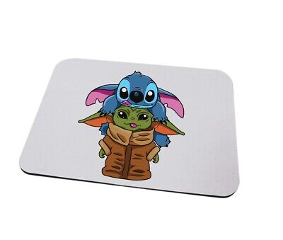 Stitch and Baby Yoda mousemat can be personalised