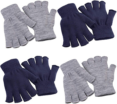 Cooraby 4 Pairs Fingerless Gloves Knitted Half Finger Gloves Winter Stretchy Fin