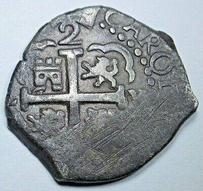 1689 Lima Peru Spanish Silver 2 Reales Antique Two Bits Colonial Pirate Cob Coin