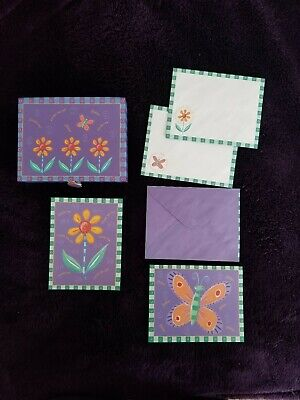 Blank Notecards With Flowers And Butterflies