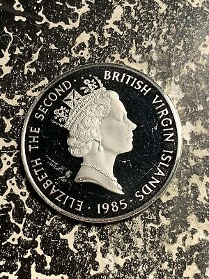 1985 British Virgin Islands $20 20 Dollars Lot#Q6801 Large Silver Coin! Proof!
