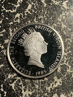 1985 British Virgin Islands $20 20 Dollars Lot#Q6803 Large Silver Coin! Proof!
