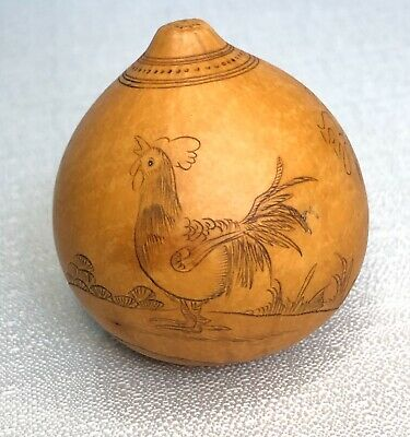 Vintage Asian Chinese- Miniature Carved- Etched Inked- Scrimshaw Rooster Gourd