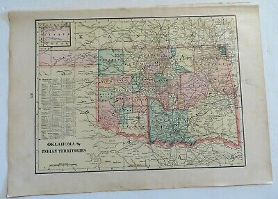 "Antique 1906 Color Map Oklahoma & Indian Territories New Mexico 11"" X 16"" #4142"