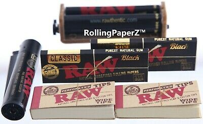RAWTHENTIC RAW BLACK (6PC) BUNDLE 1-1/4 SIZE ROLLING MACHINE+PAPERS+TIPS+Lighter