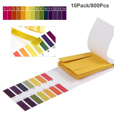 10Pack/800pcs pH Test Strips Litmus Test Paper Full Range 1-14pH Acidic Alkaline