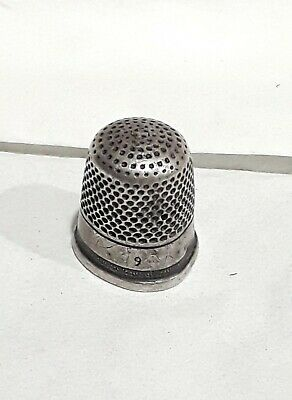 Antique Turn Of Century Unmarked Sterling Silver Thimble stamped Size 9