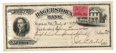 BEAUTIFUL Antique Bank Check HAGERSTOWN MD 1899 Tax stamp High $$ / Vignette