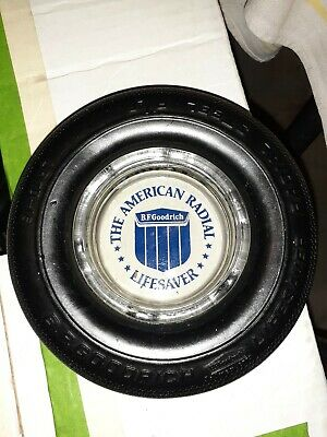 VINTAGE Original BF GOODRICH RADIAL GLASS ASH TRAY RUBBER TIRE ADVERTISING WOW!!