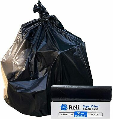 Reli. SuperValue 95 Gallon Trash Bags Heavy Duty (30 Count) Black Garbage Bags