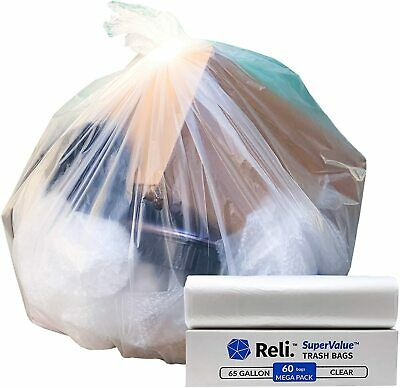 Reli. SuperValue 65 Gallon Trash Bags (60 Count, Bulk) Clear Garbage Bags 65 Gal