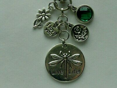 INSPIRATIONAL LIVE LIFE DRAGONFLY KEYCHAIN CLIP FOR PURSE FOB BACKPACK BAG CHARM