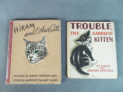 """2 KITTY CAT Books--""""Trouble the Careless Kitten"""" & """"Hiram and Other Cats"""""""