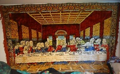 jesus christ last supper wall hanging carpet tapestry vintage plush 72x47""