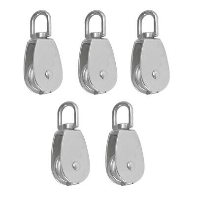 5 Pieces M15 Swivel Rigging Lift Wire Rope Pulley Block Heavy Duty Silver