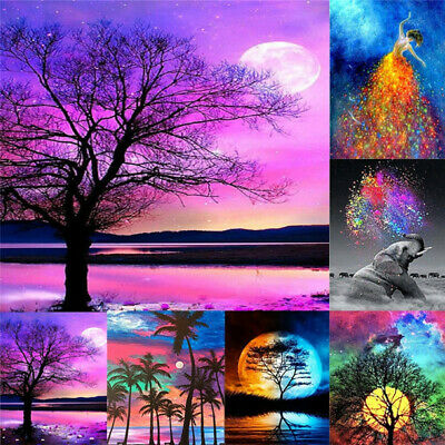 5D DIY Wall Landscape Full Diamond Painting Tree Sunset Painting Home Decor UK