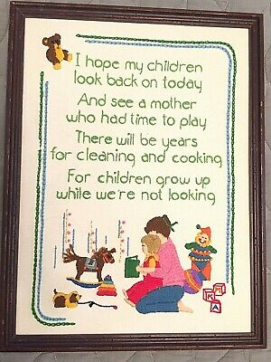 Baby Children Nursery Embroidered Framed Picture Grow Up While Were Not Looking