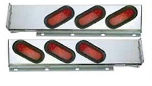 "Chrome Two Piece Light Bar With Six LED Lights 6"" Wide"