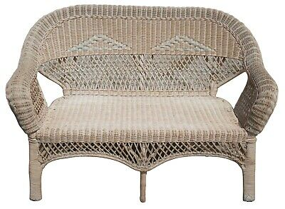 Antique Wicker Camelback Rocking Chair & Settee Love Seat Bench Rocker