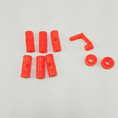 """VINTAGE Wooden Tinker Toy Parts 4/"""" GREEN BASES Plastic THIN Replacement Pieces"""