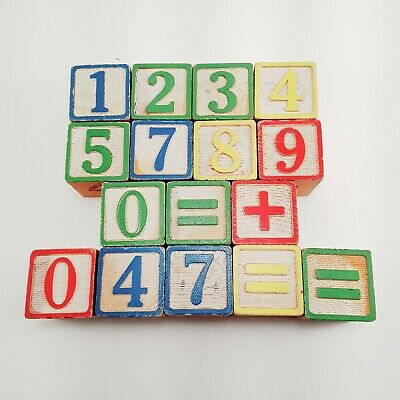 "Vintage Number Block Set 1.25"" Numbers And Symbols 16 Pieces."