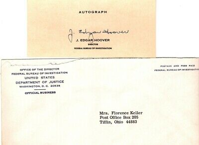 1970, J. Edgar Hoover, Director of the FBI, hand signed, autographed card