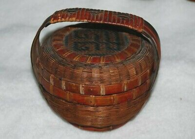 vintage miniature Chinese decorated basket with lid  4""