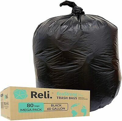 Reli. EcoStrong 55 Gallon Trash Bags (80 Count) Eco-Friendly Recyclable, Black