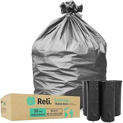 Reli. EcoStrong 40-45 Gallon Trash Bags (30 Count)Eco-Friendly Recyclable, Black