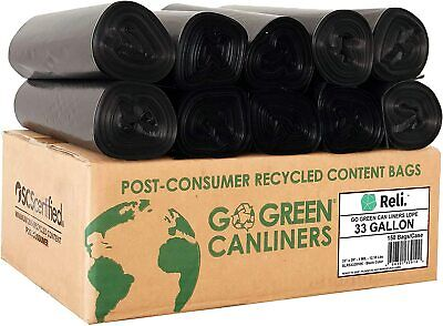 Reli. Eco-Friendly 33 Gallon Trash Bags (150 Count Black)Recyclable Garbage Bags