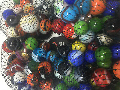 Mega Marbles Half Pound Rounds | Assorted Net of Glass Marbles