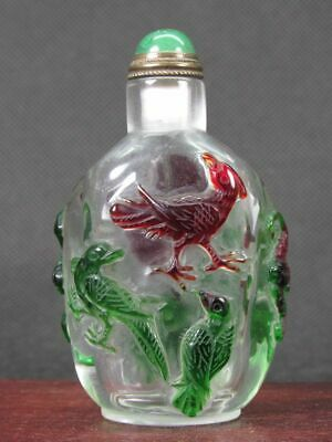 Chinese Bird Bat Peach Carved Peking Overlay Glass Snuff Bottle