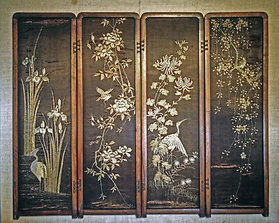 Japanese hand embroidered silk folding screen, child size, meiji period or older
