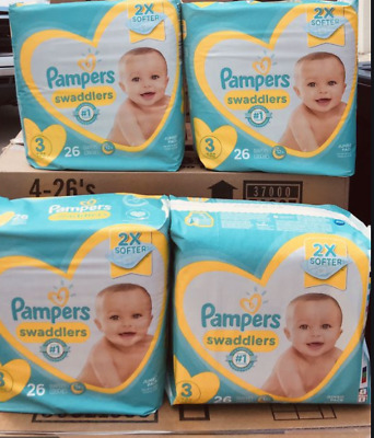 Pampers SWADDLERS Size 3 - 104 count  (4 packs of 26 = 104)