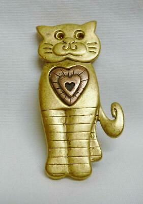 Cute Gold Tone LIA Cat Pin With A Bronze Colored Heart In the Middle. Nice!!