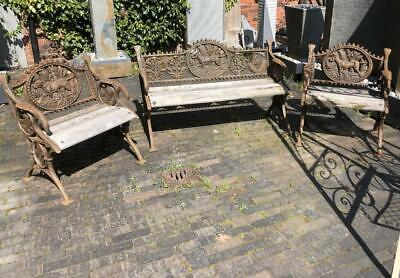 Cast Iron Garden Bench Set - Bench & Two Chairs - Dog Design - Antique Style